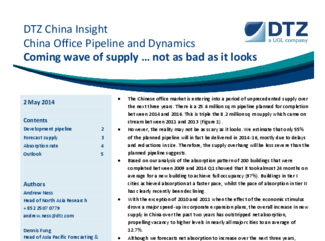 China Office Pipeline and Dynamics - Coming wave of supply … not as