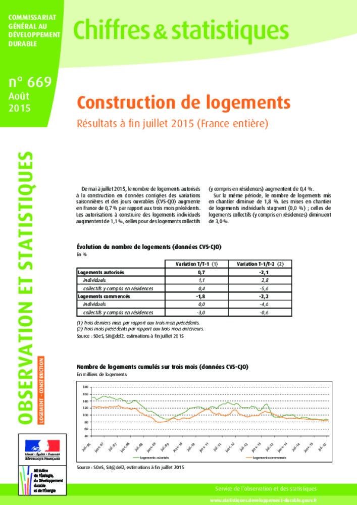 Construction De Logements Resultats A Fin Juillet 2015 Business Immo