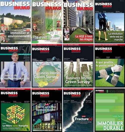 Les couvertures que Business Immo a consacré au développement durable de 2004 à 2014