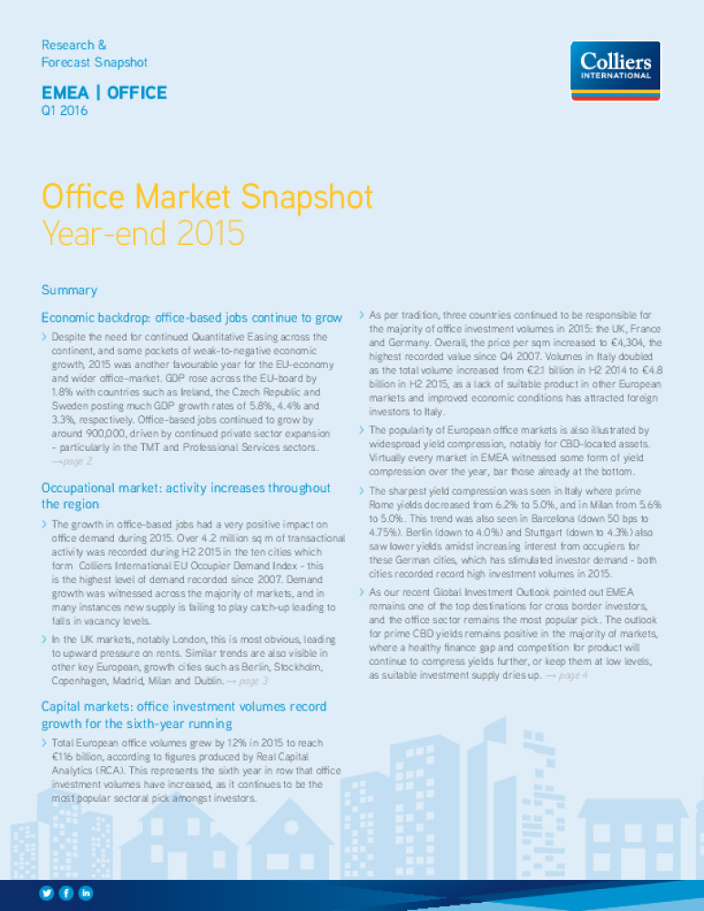 style top Braderie disponible EMEA : Office Market Snapshot - Q1 2016 - Business Immo