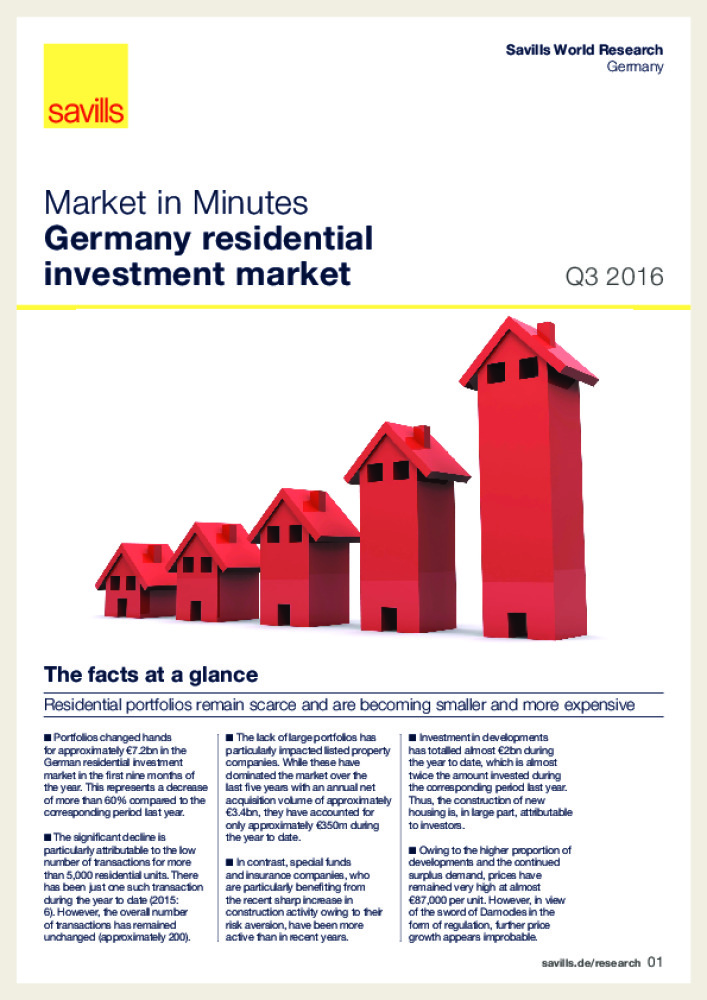 Germany : residential investment market - Q3 2016 - Business Immo