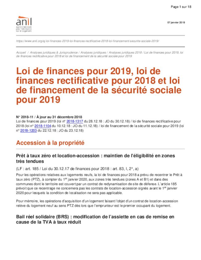 Loi De Finances Pour 2019 Loi De Finances Rectificative Pour 2018